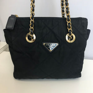 PRADA Navy Nylon Bag with Gold Metal Chain Straps